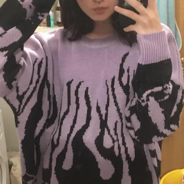 Supreme(シュプリーム)のファイアーパターン ファイヤーパターン メンズ レディース 韓国 ニット 古着 メンズのトップス(ニット/セーター)の商品写真