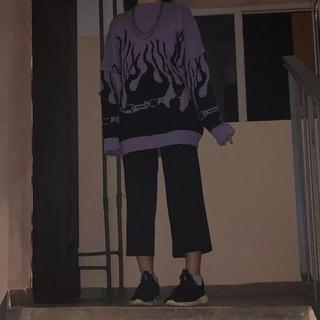 Supreme - ファイアーパターン ファイヤーパターン メンズ レディース 韓国 ニット 古着