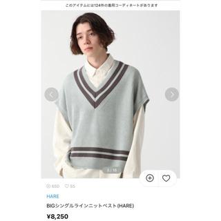 HARE - hare bigシングルラインニットベスト ブルー 希少 韓国 完売品