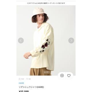 HARE - hare 袖刺繍 ソデシシュウシャツ バラ 薔薇 オフホワイト 希少S