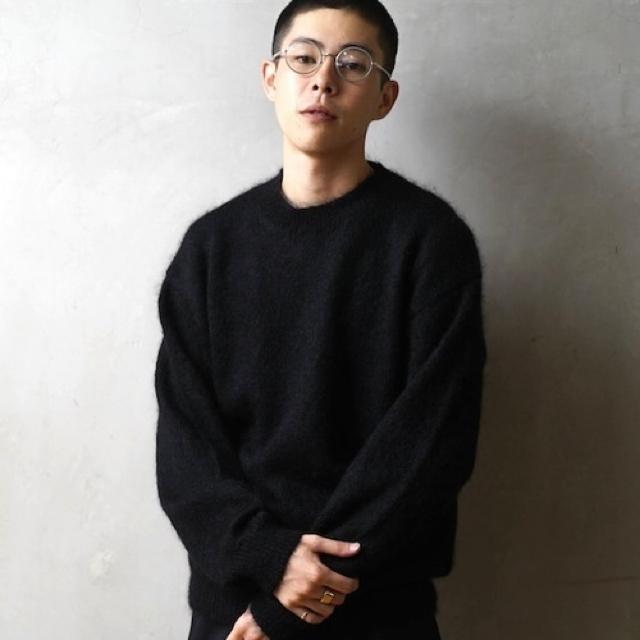 COMOLI(コモリ)の【送料込】AURALEE KID MOHAIR KNIT P/O ブラック 4 メンズのトップス(ニット/セーター)の商品写真