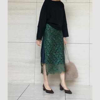 フレイアイディー(FRAY I.D)のザヴァージニア レース 刺繍 リーフ スカート グリーン(ロングスカート)
