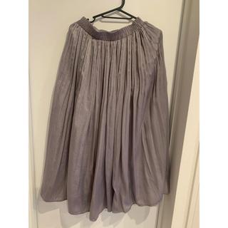 w closet - グレーパープル 光沢ロングスカート