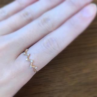 エテ(ete)のジュエッテ K10YG レイヤー ジグザグ×ダイヤモンド リング(リング(指輪))