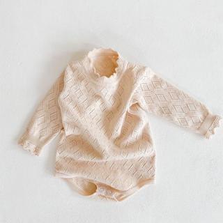 透け編みロンパース