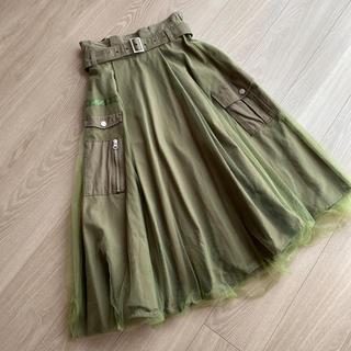 ローズバッド(ROSE BUD)のローズバッド ROSE BAD チュール カーキ ひざ丈スカート(ひざ丈スカート)