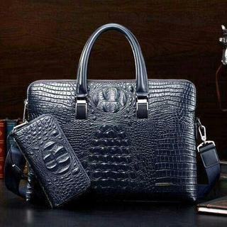 人気 高級本革 ワニ革 クロコダイルレザー ビジネスバッグ ブラック 鞄