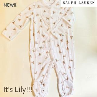 Ralph Lauren - 3m60cm ラルフローレン BABY 長袖ロンパース フラグベア ピンク