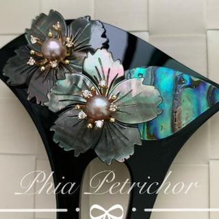 髪飾り 黑蝶貝 かんざしB2010261 バチ型 結婚式 簪 留袖 着物 成人式(ヘアアクセサリー)