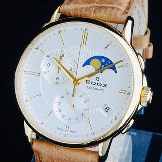 エドックス(EDOX)の◆最先端の技術を駆使◆EDOX エドックス 新品 メンズ 腕時計 ムーンフェイズ(レザーベルト)