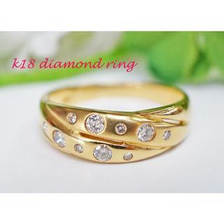 K18 ダイヤモンド 0.30ct リング 4.4g サイズ「18」(リング(指輪))
