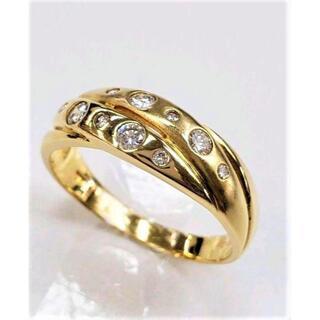 K18 天然ダイヤ入り デザインリング 18号(リング(指輪))