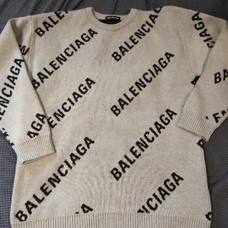 バレンシアガ(Balenciaga)の新品美品BALENCIAGA  ロゴ ニット クルーネック グレー M(ニット/セーター)