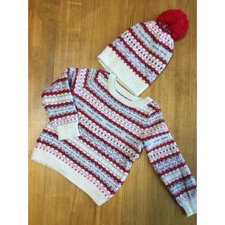 ベビーギャップ(babyGAP)のbabyGAP ノルディック柄 ニット セーター ニット帽 セット 100cm(ニット)