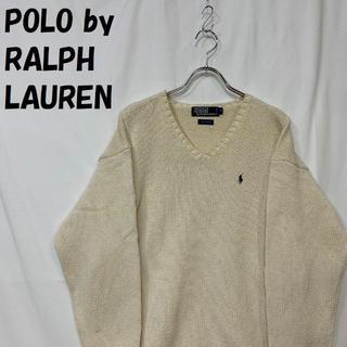POLO RALPH LAUREN - 【人気】ポロ バイ ラルフローレン Vネック ニット セーター 刺繍ロゴ L