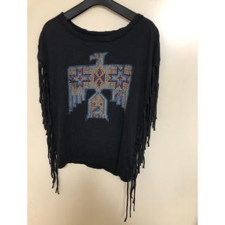 デニムアンドサプライラルフローレン(Denim & Supply Ralph Lauren)のdenim&supply フリンジ  TOP ブラック(Tシャツ(半袖/袖なし))