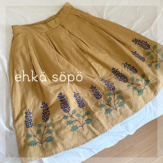 エヘカソポ(ehka sopo)のehka sopo 刺繍スカート (ひざ丈スカート)