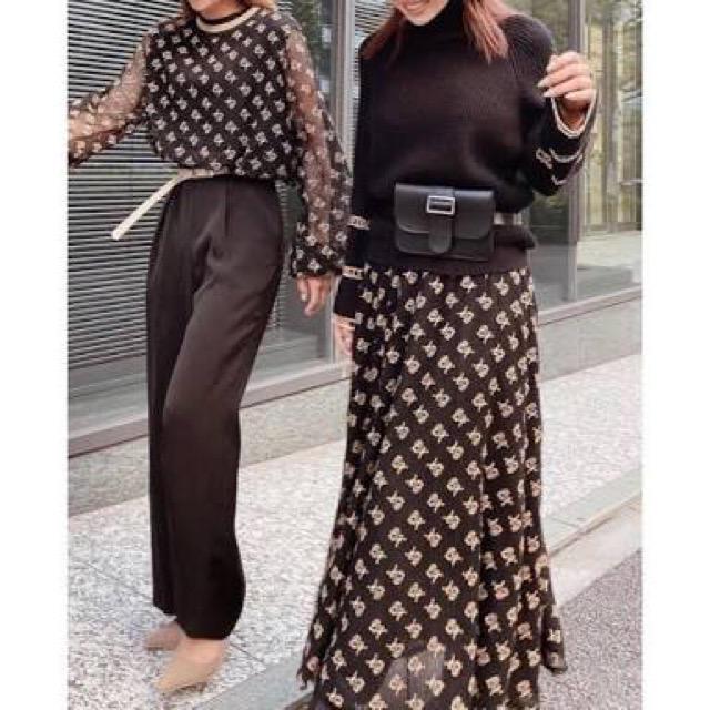 eimy istoire(エイミーイストワール)のclassic eimy モノグラム メッシュ ボリューム スカート レディースのスカート(ロングスカート)の商品写真
