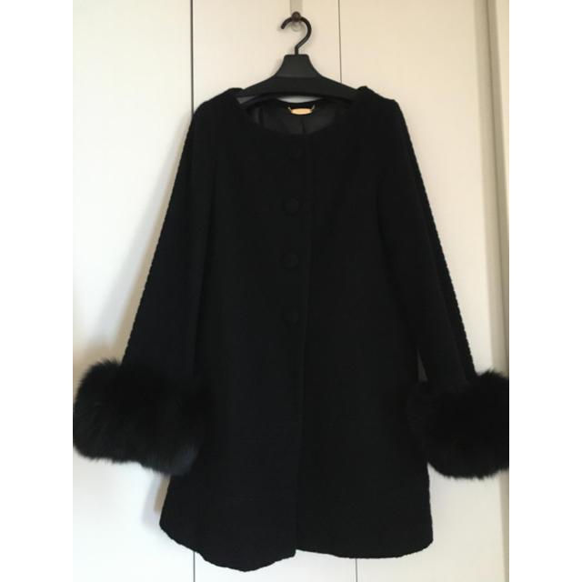 snidel(スナイデル)のお値下げ❗️snidel ファー付きノーカラーコート 黒 レディースのジャケット/アウター(ロングコート)の商品写真