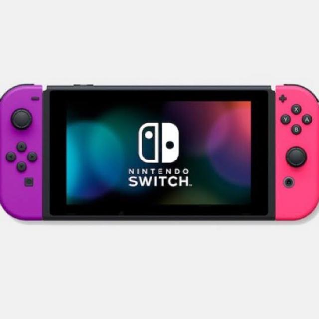 Nintendo Switch(ニンテンドースイッチ)の新品未開封「Nintendo Switch」ネオンパープル&ネオンピンク エンタメ/ホビーのゲームソフト/ゲーム機本体(携帯用ゲーム機本体)の商品写真