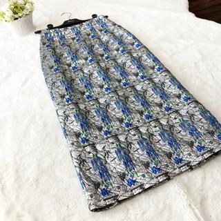 クリスチャンディオール(Christian Dior)の極美品 クリスチャンディオール 総刺繍 スカート ラメ 花柄(ロングスカート)