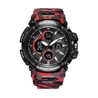 SMAEL 1708MC スポーツウォッチ(迷彩タイプ、レッド)(腕時計(デジタル))