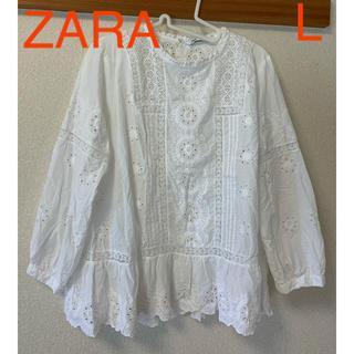 ZARA - ZARA カットワーク ブラウス L 美品 長袖