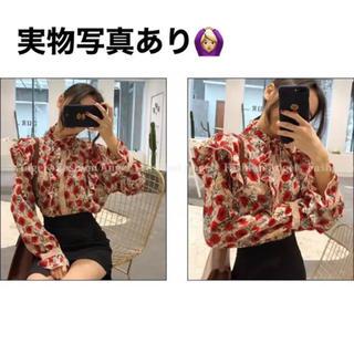 dholic - 韓国ファッション トップス ブラウス 花柄ブラウス 花柄シャツ 個性的シャツ