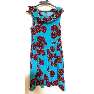 マークバイマークジェイコブス(MARC BY MARC JACOBS)のマークバイジェイコブス ワンピース ブルー 水色 花柄 ノースリーブ(ひざ丈ワンピース)