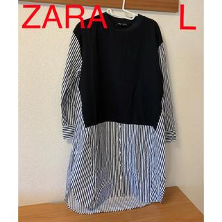 ZARA - ZARA コンビ素材ワンピース L 黒×白ストライプ