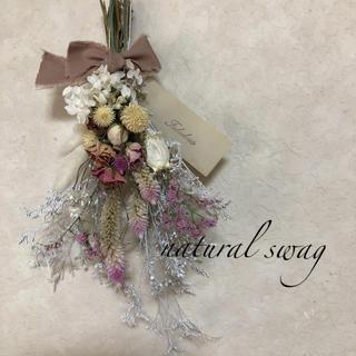 No.146 white*pink ドライフラワースワッグ♡(ドライフラワー)