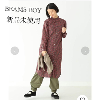 BEAMS BOY - リバティスタンドカラーロングスリーブワンピース