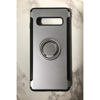 ギャラクシー(Galaxy)のGalaxyS10Plus カッコいい リング付き耐衝撃ケース シルバー 銀(Androidケース)