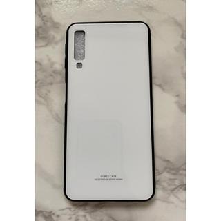 ギャラクシー(Galaxy)のシンプル&可愛い耐衝撃背面9HガラスケースGalaxyA7(2018)ホワイト白(Androidケース)