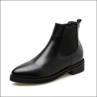 新品大きいサイズレザー調レディース*ショートブーツ黒ブラック*24.5~25cm(ブーツ)