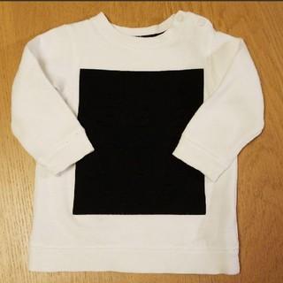 エイチアンドエム(H&M)の白✕黒【H&M】フロッキー裏起毛トレーナー 80サイズ(トレーナー)