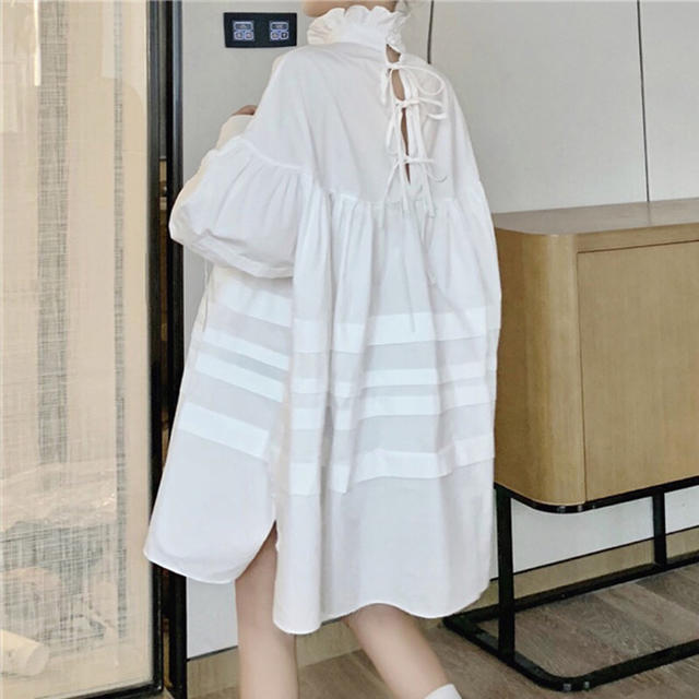 フリル襟バッグリボンワンピース レディースのワンピース(ミニワンピース)の商品写真