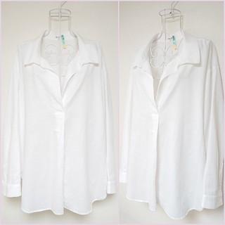PLST - ☆【美品】プラステ PLST 麻混 ホワイト 長袖 シャツ サイズ M