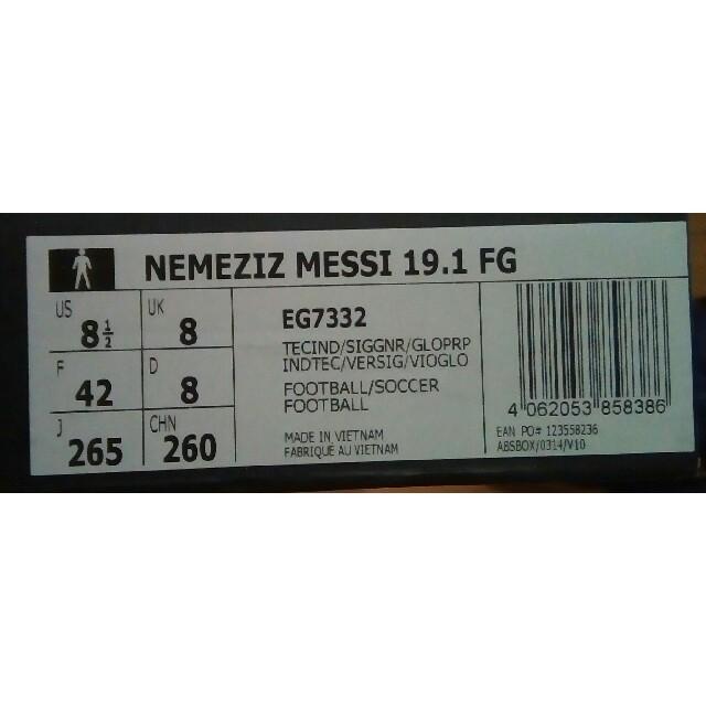 adidas(アディダス)の新品未使用 ネメシスメッシ19.1FG 26.5cm EG7332 スポーツ/アウトドアのサッカー/フットサル(シューズ)の商品写真