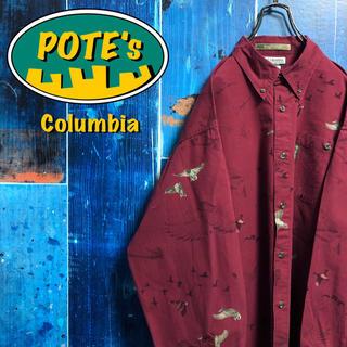 Columbia - 【コロンビア】アニマル柄ビッグカモ柄ロゴタグ総柄ハンティングシャツ 90s