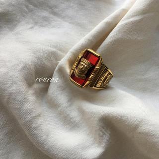 ドゥーズィエムクラス(DEUXIEME CLASSE)のカレッジリング赤ステンレスUS7 高品質♡ロンハーマン TOGA トゥデイフル(リング(指輪))