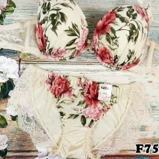 SE13★F75 L★ブラ ショーツ シャクヤク 大花 シフォンレース ベージュ(ブラ&ショーツセット)