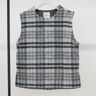 Drawer - 新品タグ付 YONFA check wool vest ブルー