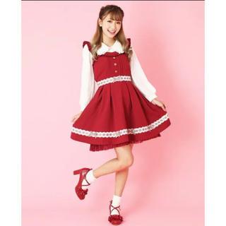 リズリサ(LIZ LISA)のリズリサ♡チェックリボンジャンスカ♡赤♡エンジ(ひざ丈ワンピース)