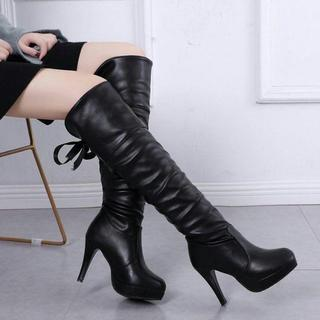 女性の秋と冬のブーツ、ハイヒール,❤︎厚底ニットニーハイブーツ❤︎(ブーツ)
