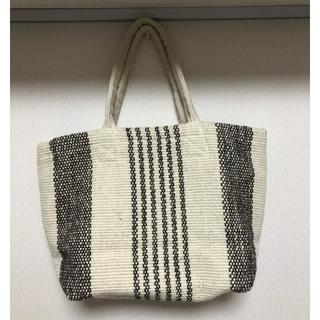 ムジルシリョウヒン(MUJI (無印良品))のインドの手織り ウール混トートバッグ 生成×茶 【無印良品】(トートバッグ)