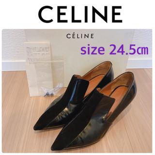 celine - セリーヌ パンプス ブラック 黒 エナメル スウェード