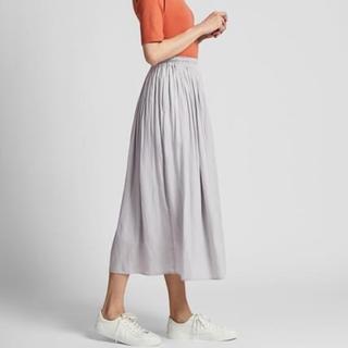 UNIQLO - ギャザーロングスカート プリーツスカート グレーS
