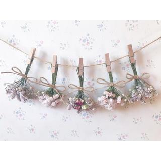 3種のバラとかすみ草のパステルピンクドライフラワーガーランド♡スワッグ♡ブーケ(ドライフラワー)