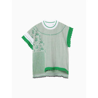 mame - mame Cocoon Layered Knit Jacquard Tops